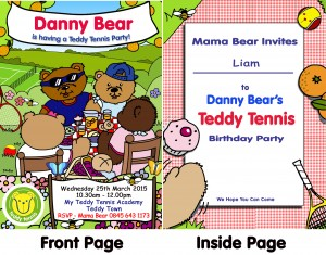 Teddy Tennis Party Invite double sided sample Nov 2014