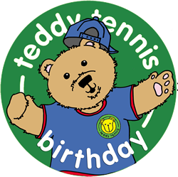 Teddy Tennis Birthday Badge